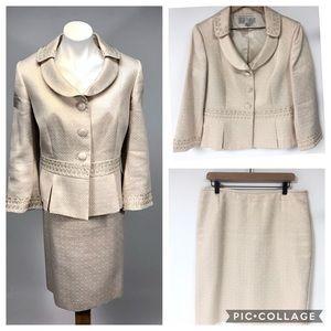 Tahari MOTB gold cream suit skirt blazer gold